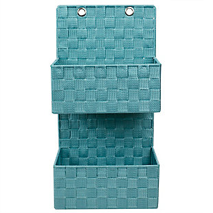 Contemporary Two Tier Hanging Woven Organizer, Turquoise, large