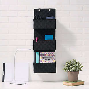 Contemporary Three Tier Hanging Woven Organizer, Black, rollover
