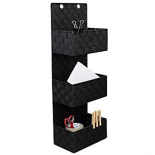Contemporary Three Tier Hanging Woven Organizer, Black, large