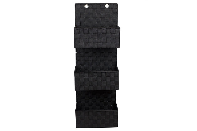 Contemporary Three Tier Hanging Woven Organizer, Black, large