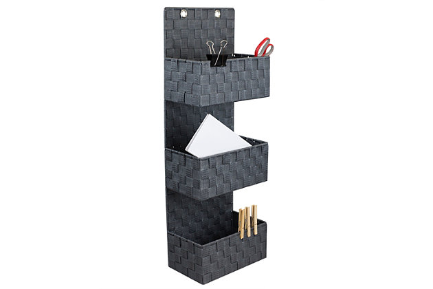 Contemporary Three Tier Hanging Woven Organizer, Gray, large