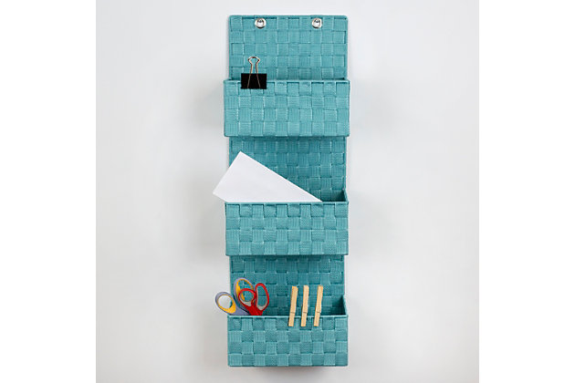Contemporary Three Tier Hanging Woven Organizer, Teal, large
