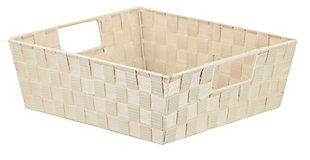 Contemporary Woven Storage Bin, Ivory, large