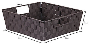 Contemporary Woven Storage Bin, Brown, large
