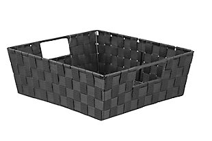 Contemporary Large Woven Bin, Black, large