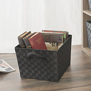 Contemporary Extra Large Woven Bin, Black, rollover