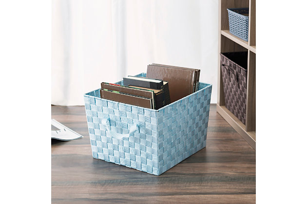 Contemporary Extra Large Woven Bin, Metallic Blue, large
