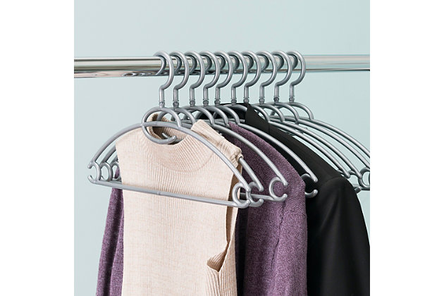 Contemporary Plastic Hangers (Set of 10), Silver Finish, large