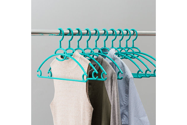 Contemporary Plastic Hangers with Accessory Hook (Set of 10), Turquoise, large