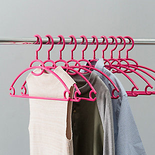 Contemporary Plastic Hangers with Accessory Hook (Set of 10), Fuchsia, rollover