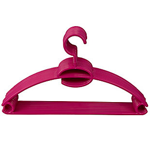 Contemporary Plastic Hangers with Accessory Hook (Set of 10), Fuchsia, large