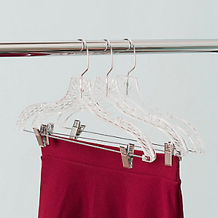 Contemporary Plastic Hangers with Metal Pant Clips (set of 3), , rollover