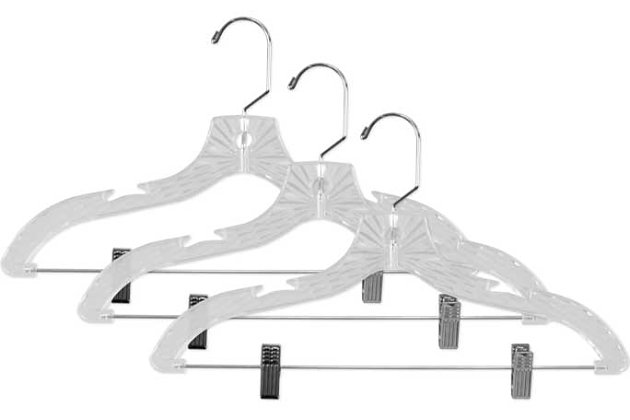 Contemporary Plastic Hangers with Metal Pant Clips (set of 3), , large