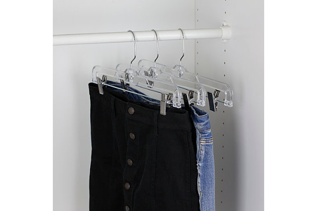 Contemporary Plastic Skirt Hanger with Metal Clips, , large