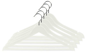 Contemporary Plastic Hangers (Set of 5), White, large