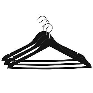 Contemporary Non-Slip Plastic Hangers, Black, large
