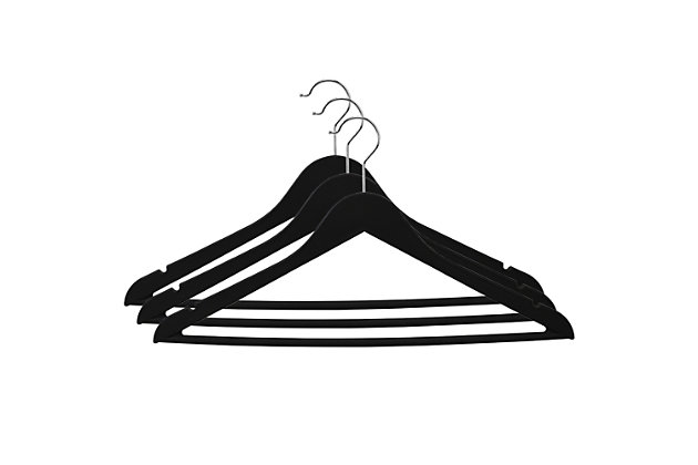 Contemporary Non-Slip Plastic Hangers, Black, large