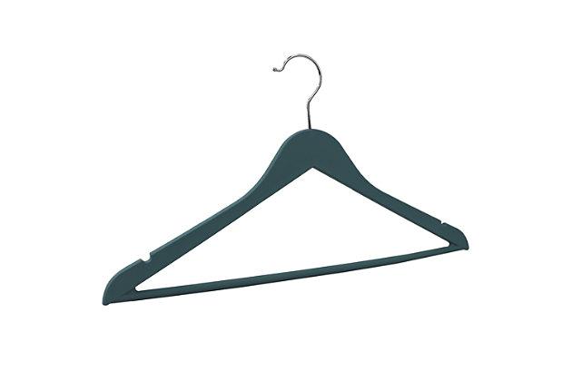 Contemporary Non-Slip Plastic Hangers, Slate, large