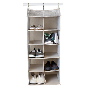 Contemporary Kensington Ten Shelf Hanging Closet Organizer with Mesh Top, , large