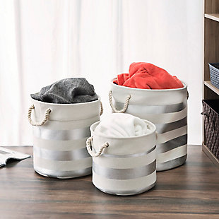 4 Piece Chrome & Wood Organizer Set