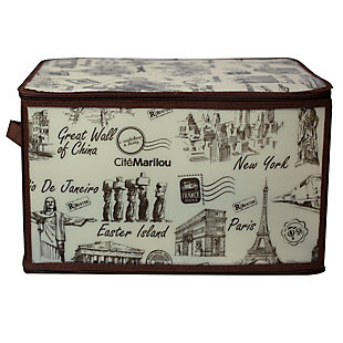 Contemporary Cities Large Zippered Storage Box, , large