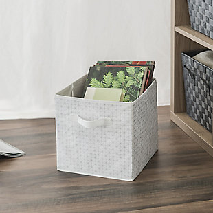 Contemporary Metallic Diamond Storage Cube, Metallic Diamond White, rollover