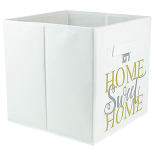 Contemporary Metallic Diamond Storage Cube, White, large