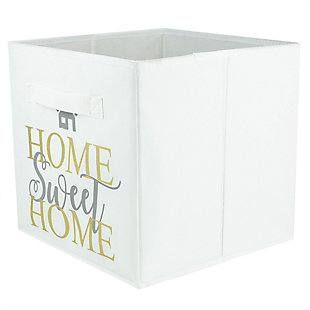 Contemporary Metallic Home Sweet Home Storage Cube, Sweet Home White, large