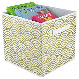 Contemporary Metallic Scallop Storage Cube, Metallic Scallop Gold, large