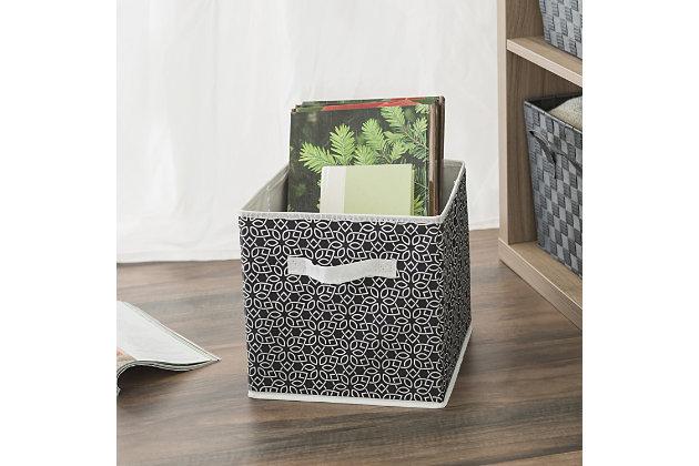 Contemporary Chevron Storage Cube, Black, large