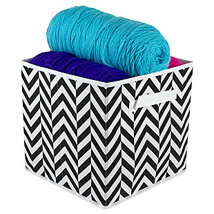 Contemporary Chevron Storage Cube, Chevron Black, large