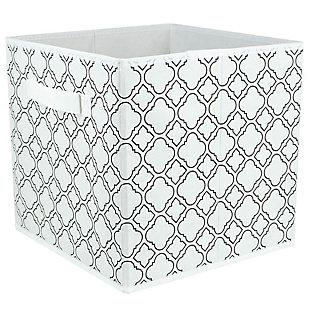 Contemporary Quatrefoil Storage Cube, Quatrefoil White, large