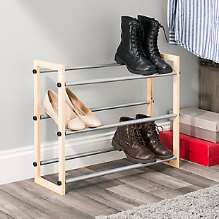 Contemporary Three Tier Expandable Shoe Rack, , rollover