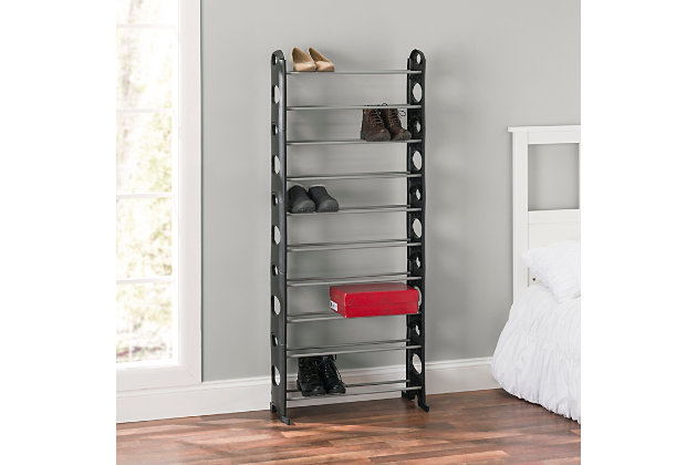 Contemporary Stackable Thirty Pair Shoe Rack, , large