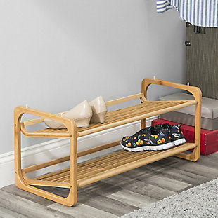 Contemporary Two Tier Bamboo Shoe Rack, , rollover