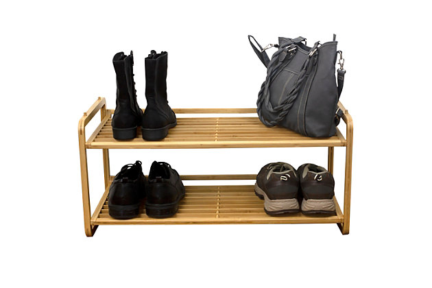 Contemporary Two Tier Bamboo Shoe Rack, , large