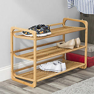 Contemporary Three Tier Bamboo Shoe Rack, , rollover