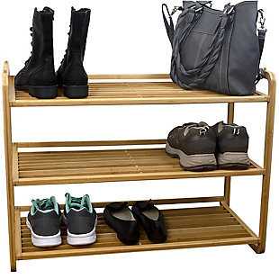 Contemporary Three Tier Bamboo Shoe Rack, , large