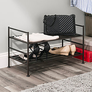Contemporary Two Tier Stackable Shoe Rack, , rollover