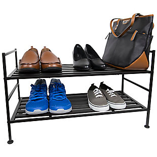 Contemporary Two Tier Stackable Shoe Rack, , large