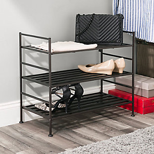 Contemporary Three Tier Stackable Shoe Rack, Espresso, rollover