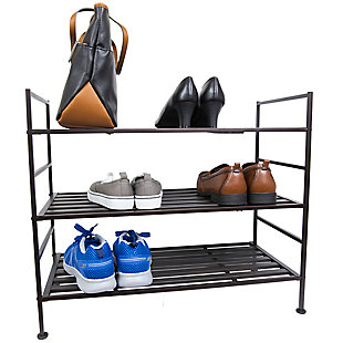 Contemporary Three Tier Stackable Shoe Rack, Espresso, large