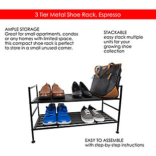 Contemporary Three Tier Stackable Shoe Rack, Espresso, large