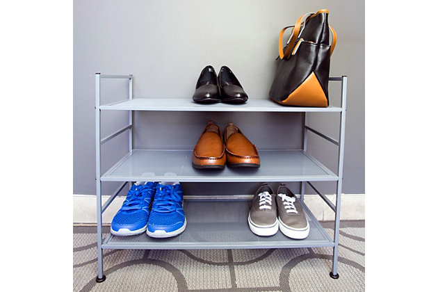 Contemporary Three Tier Stackable Shoe Rack, Gray, large