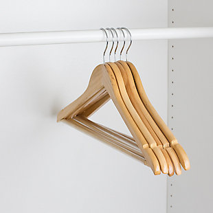 Contemporary Non-Slip Wooden Hangers (Set of 5), Natural, large