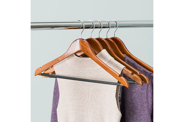 Contemporary Non-Slip Wooden Hangers (Set of 5), , large