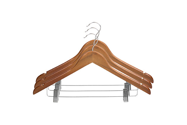 Contemporary Non-Slip Wooden Hangers with Metal Clips (Set of 3), Natural, large