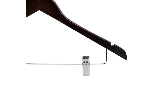 Contemporary Non-Slip Wooden Hangers with Metal Clips (Set of 3), Cherry, large