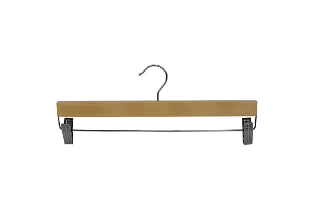 Contemporary Wooden Skirt Hanger with Metal Clips (Set of 3), Natural, large