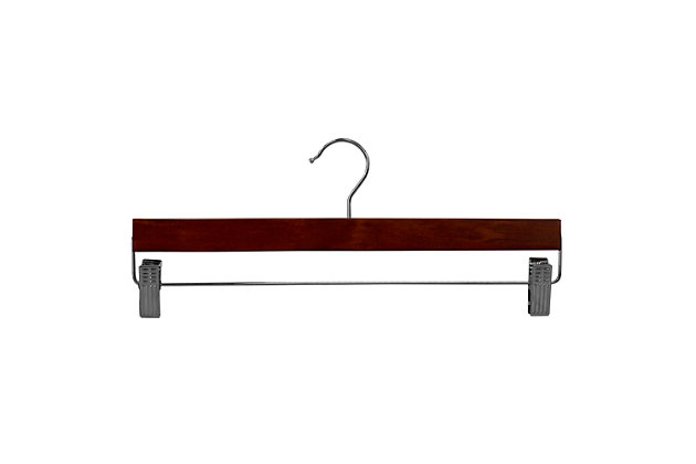 Contemporary Wooden Skirt Hanger with Metal Clips (Set of 3), Cherry, large